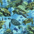 Novelty Cotton Fabric -Sea Turtles in Ocean