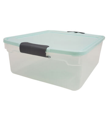 Homz 15 Quart Sweater Blue Lid Silver  Latch Storage Container