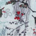 Anti-Pill Plush Fleece Fabric-Cardinals On Branch Mint Gray