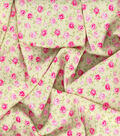 Gertie Rayon Fabric -Pink Midnight Roses on Yellow