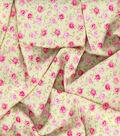 Gertie Rayon Fabric 53\u0027\u0027-Pink Midnight Roses on Yellow