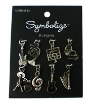 hildie & jo Symbolize 8 pk Music Charms-Silver, , hi-res