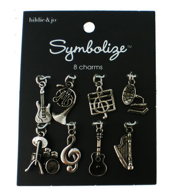 hildie & jo 8pc Charms-Music Silver
