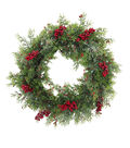 Blooming Holiday Christmas Glisten Red Berry & Cyprus Wreath