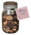 Button Collector Mason Jar-Wood Mix