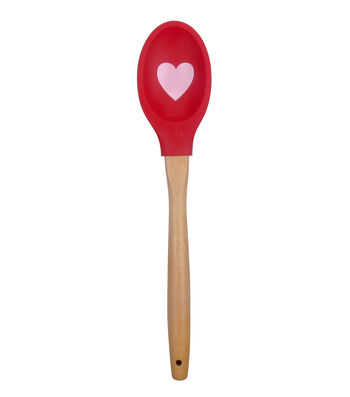 Valentine's Day Silicone Printed Spoonula with Wood Handle-Heart