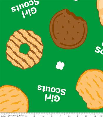 Girl Scouts Fleece Fabric-Cookies on Green