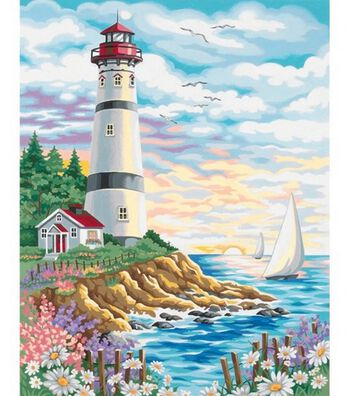 Paint By Number Kit 14X11-Lighthouse At Sunrise