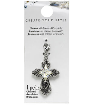 Swarovski Create Your Style Ornate Cross Charm-Crystal