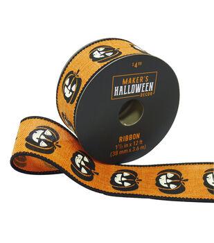 Maker's Halloween Decor Ribbon 1.5''x12'-Black Pumpkins on Orange