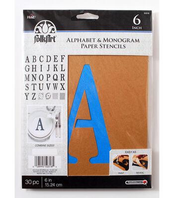 FolkArt 30 pk 6'' Alphabet & Monogram Paper Stencils-Serif Font