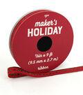 Maker\u0027s Holiday Christmas Ribbon 3/8\u0027\u0027x9\u0027-Green Glitter Dots on Red