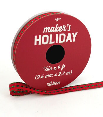 Maker's Holiday Christmas Ribbon 3/8''x9'-Green Glitter Dots on Red