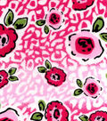 Snuggle Flannel Fabric -Very Berry Flowers Cheetah