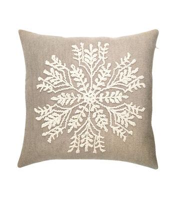 Maker's Holiday Christmas Pillow-Snowflake on Gray