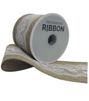 Decorative Ribbon 2.5''x12' Lace on Burlap-White