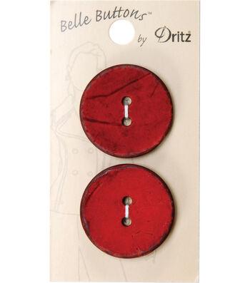 Dritz 30mm Belle Button Natural Coconut Medium Red