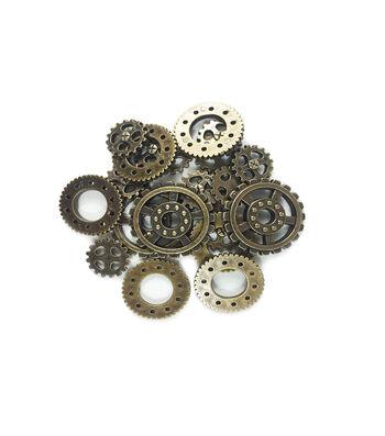 "Steampunk Multi Gears Embellishments 1.25""-Antique Gold"