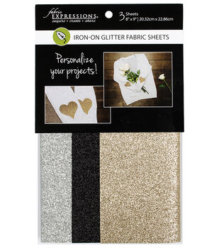 Fabric Expressions Iron-on Glitter Fabric Sheets-Gold, Black & Silver
