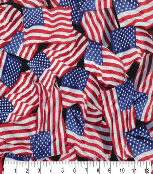 Patriotic Cotton Fabric-Flags, Flags, Flags