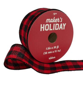 Maker's Holiday Christmas Ribbon 1.5''x30'-Red & Black Buffalo Checks