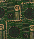 Shirting Cotton Fabric-Green & Gold Foil Squares