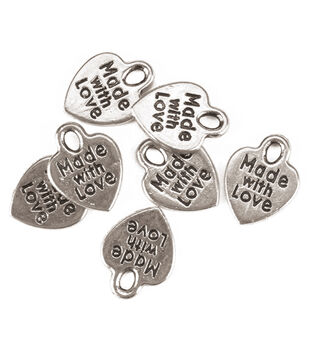 """Darice """"Made with Love"""" Silvertone Charms 75pc"""