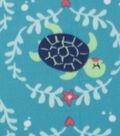 Blizzard Fleece Fabric-Happy Turtle on Blue