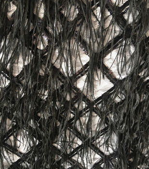Gianna Mesh Embroidery with Feathers Fabric 55''-Caviar