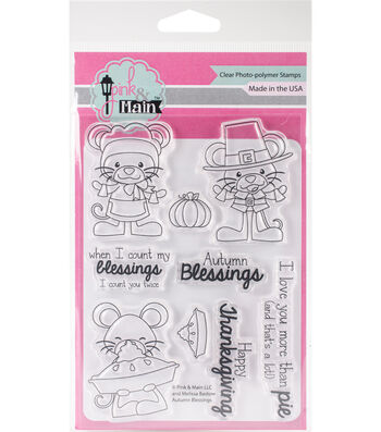 """Pink & Main Clear Stamps 4""""X6""""-Autumn Blessings"""