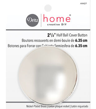 Dritz Home Creative DIY 2 1/2'' Nickel-Plated Half Ball Cover Button