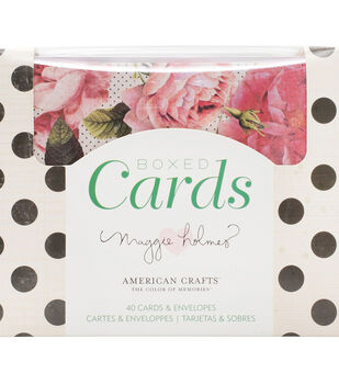 American Crafts Maggie Holmes 40 pk A2 Boxed Cards & Envelopes-Open Book