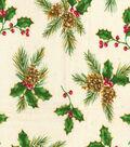 Christmas Osnaburg Cotton Print Fabric -Pinecones