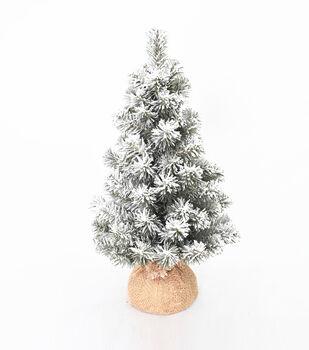 Handmade Holiday 18'' Flocked Norway Green Tree with Burlap Base