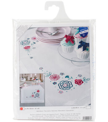 Vervaco 16''x40'' Stamped Table Runner Embroidery Kit-Modern Flowers