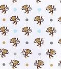 Nursery Flannel Fabric 42\u0022-Monkey Tossed