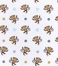 Nursery Flannel Fabric -Monkey Tossed