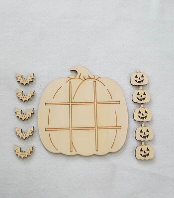 Maker's Halloween Laser Wood-Pumpkin Tic Tac Toe