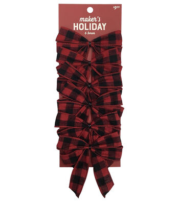 Maker's Holiday Christmas 6 pk Bows-Red & Black Checks