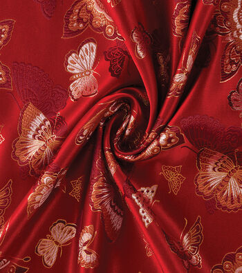 Yaya Han Cosplay Brocade Fabric 58''-Red Choo Butterfly