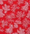Christmas Cotton Fabric 43\u0022-Pine Branches Red Tonal