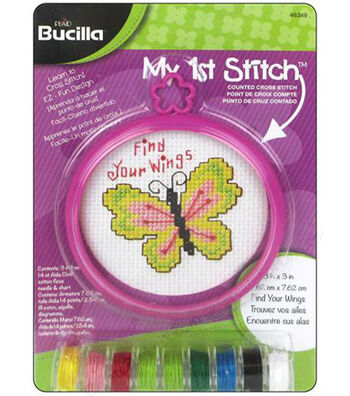 """My 1st Stitch Find Your Dreams Mini Counted Cross Stitch Kit-3"""" Round 14 Count"""