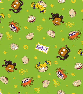 """Nickelodeon® Rugrats Flannel Fabric 42""""-Character Toss"""