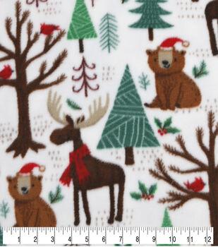 Anti-Pill Plush Fleece Fabric-Winter Woodland Friends