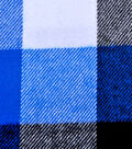 Plaiditudes Brushed Cotton Fabric -Blue, Black & White Buffalo Check