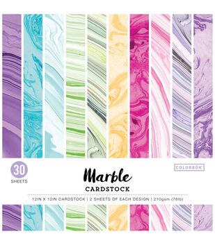 """Colorbok 78lb Single-Sided Printed Cardstock 12""""X12"""" 30/Pkg-Marble"""