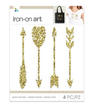 Momenta 4 pk Arrows Glitter Iron-on Art-Gold