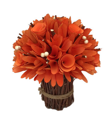 Blooming Autumn Wood Chip Topiary-Orange
