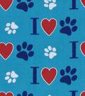 Snuggle Flannel Fabric -Bone Heart Paw