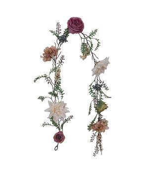 Blooming Autumn Dahlia & Rose Garland-Mood Cream & Light Purple